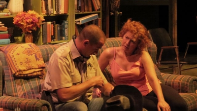 Mat Poirier and Krista Garrett in a scene from King's Town Players' production of August: Osage County.