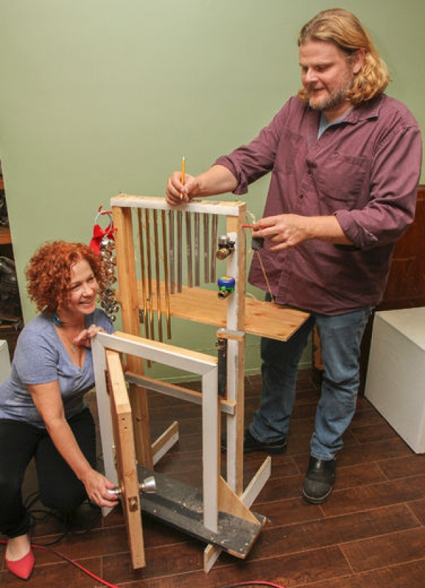 Krista and Clayton Garrett with their homemade sound effects machine at the King's Town Players rehearsal space on October 8.