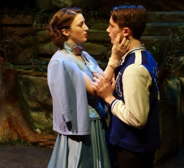 Natalea Robyn, left, and James Hyett play lovers Helena and Demetrius in the King's Town Players' production of A Midsummer Night's Dream.