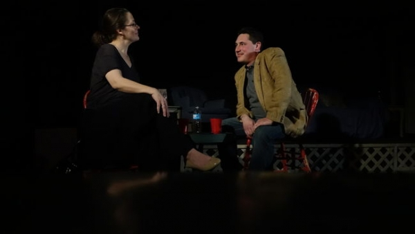 Helen Bretzke, left, and Jason Bowen star in King's Town Players latest production, Rapture, Blister, Burn.